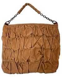 BCBGMAXAZRIA Brown Leather Ruched Details Tote Bag