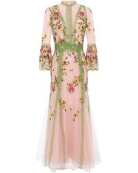 Costarellos Lace-trimmed Embroidered Tulle Gown - Pink