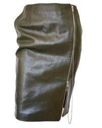 Jean Paul Gaultier Runway Dark Olive Green Front Zipper Leather Skirt