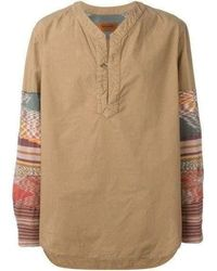 Missoni Runway Men Beige Patchwork Long Sleeve Shirt - Multicolor