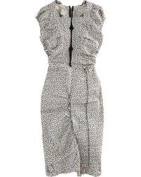 Nina Ricci Linen Cap Sleeve Scoop Neckline Sheath Dress - Black