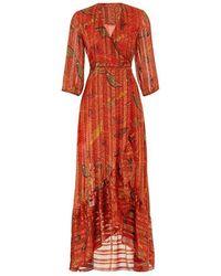 Ba&sh Disy Botanical-print Plisse Maxi Dress - Red