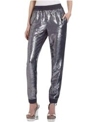 BCBGMAXAZRIA Grey Silk Zhara Sequinned Trousers