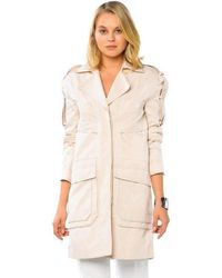 BCBGMAXAZRIA Long Cotton Blend Coat - Natural