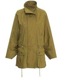 Balmain Khaki Quilted Dolman Sleeve Safari Trench Coat - Green