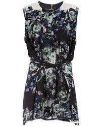 Sharon Wauchob Floral Printed Fringe Silk Dress - Black