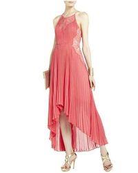 BCBGMAXAZRIA Maryella Deep Coral Pleat And Lace Dress Rackga/49 - Orange