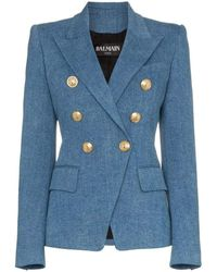 Balmain Double-breasted Classic Denim Blazer - Blue