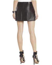 BCBGMAXAZRIA Bcbg Maxazria Myra Double Zipped Leather Mini Skirt Lzy3e275 - Black