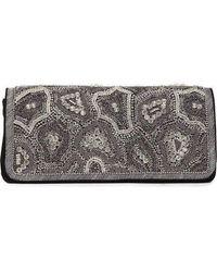 Dries Van Noten Runway Black Nabuck Leather & Swarovski Crystal Clutch