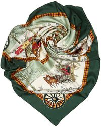 Hermès Green With Multi Silk Fabric Bull And Mouth Regents Circus Piccadilly Scarf France