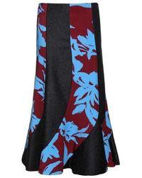 Dries Van Noten Sharne Wool Midi Skirt With Silk Panels - Blue