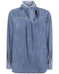 5d98e0d96c215 Lyst - Chloé Blue Denim Neck Tie Shirt in Blue