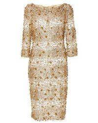 Naeem Khan Beaded Gold Fitted Cocktail Dress - Metallic