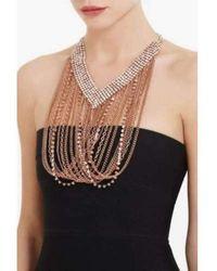 BCBGMAXAZRIA Draped Chain Rhinestone Necklace - Black