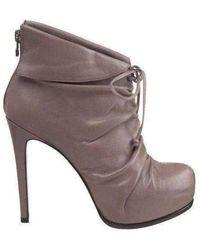 Pour La Victoire Gray Leather Asas Ankle Boots
