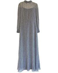 Dior Black And White Silk Polka Dot Maxi Silk Dress