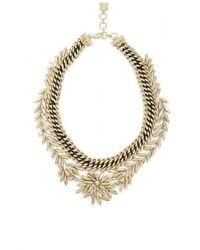 BCBGMAXAZRIA - Gold Woven Leaf Necklace - Lyst