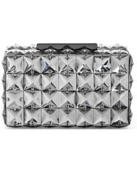 BCBGMAXAZRIA Lulu Square Charcoal Crystal Clutch Bag - Gray