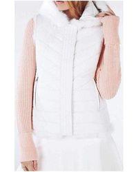 BCBGMAXAZRIA Mimi Reversible Fur Vest - White
