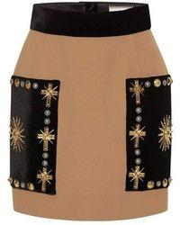 Fausto Puglisi Embellished Velvet Mini Skirt - Multicolour