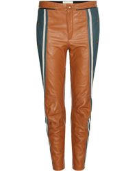Chloé - Biker Cropped Striped Runway Leather Pants - Lyst