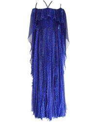 Ralph & Russo Blue Silk Ball Cape Gown