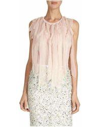 Nina Ricci Mousseline Strip Knit Top - Pink