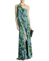 BCBGMAXAZRIA Nalda One-shoulder Long Ruffle Dress - Green