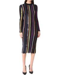 Nina Ricci Long Sleeve Sequin Embellished Knit Bayadere Dress - Multicolour