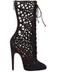 Alaïa Mid Calf Stiletto Boots - Black