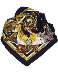 Hermès Blue Navy With Multi Silk Fabric New Orleans Creole Jazz Scarf France