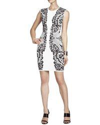 BCBGMAXAZRIA Konnie Embroidered-filigree Diamond Jacquard Dress - White