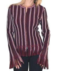 Alaïa Seamed Knit Moto Fringe Jacket - Brown
