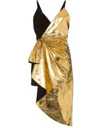 Gucci Metallic Leather Asymmetric Mini Dress - Black