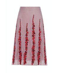 BCBGMAXAZRIA Condella Floral Embroidered Midi Skirt - Black