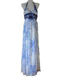 Emilio Pucci Greek Bleach Lazurite Silk Halter Gown Dress - Blue