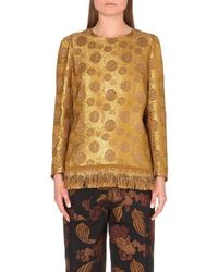 Dries Van Noten - Ciego Gold Brocade Top - Lyst