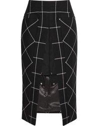 Sacai - Cotton Twill-paneled Checked Wool Skirt - Lyst