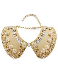 Dolce & Gabbana Gold Collar With Flower And Crystal Embellishment - Metallic