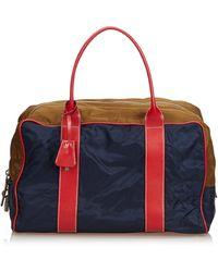 Prada Blue Navy With Multi Nylon Fabric Travel Bag Italy W/ Dust Bag, Authenticity Card