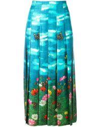 Gucci Vita Garden Pleated Silk Skirt - Blue