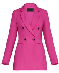 BCBGMAXAZRIA Long Double Breasted Blazer - Pink