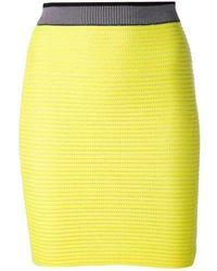 Alexander Wang Neon-yellow Cycling Pencil Skirt