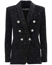 Balmain Glittered Double Breasted Blazer - Black