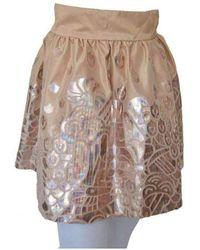Manish Arora Silk With Metallic Cutout Details Mini Skirt