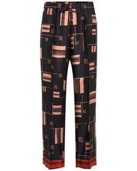 Dries Van Noten Printed Satin Wide-leg Pants - Black