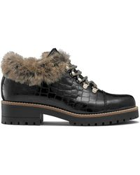 Russell & Bromley Women's Black Patent Leather Crocodile Print Icelander Faux-fur Hiker Boots, Size: Uk 3