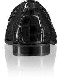Russell & Bromley Women's Black Patent Leather Crocodile Print Smoking Slipper Dress Flats, Size: Uk 4