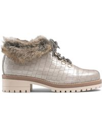 Russell & Bromley Women's Brown Leather Crocodile Print Icelander Faux-fur Hiking Shoes, Size: Uk 3